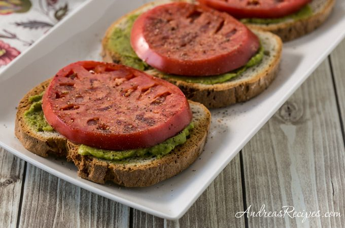 Tomato Toast with Guacamole - Andrea Meyers