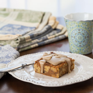 Pumpkin Bread Pudding with Maple Glaze