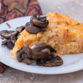 Roasted Butternut Squash Polenta with Smoked Gouda and Sauteed Mushrooms