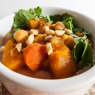 Slow Cooker Squash Stew with Garbanzo Beans and Red Lentils