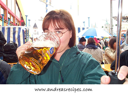 Andrea enjoying beer at Oktoberfest 2000
