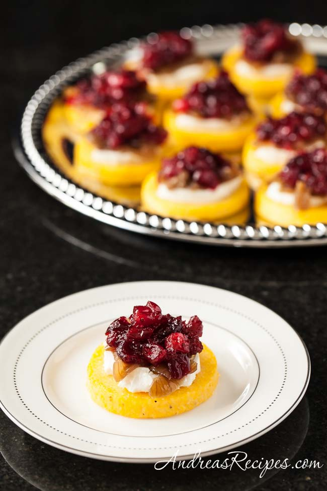 Polenta Toasts with Goat Cheese, Caramelized Onions, and Port Cranberries - Andrea Meyers