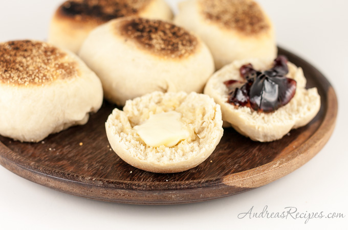 Andrea Meyers - BBA Challenge: English Muffins, with butter and Michigan cherry jelly