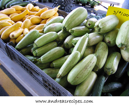 Andrea's Recipes - Ishtar and yellow crook-neck squash at the Central New York Regional Markets, Syracuse