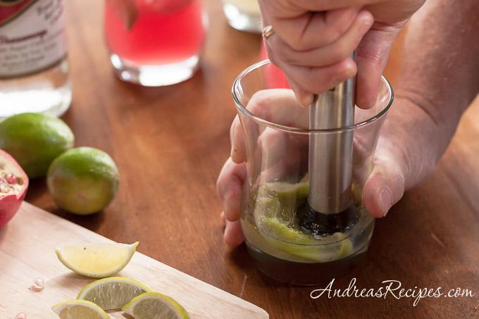 Andrea Meyers - Muddling for a caipirinha cocktail.