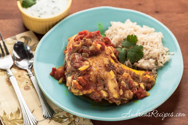 Baked Curry Chicken with Tomatoes and Cilantro Raita - Andrea Meyers