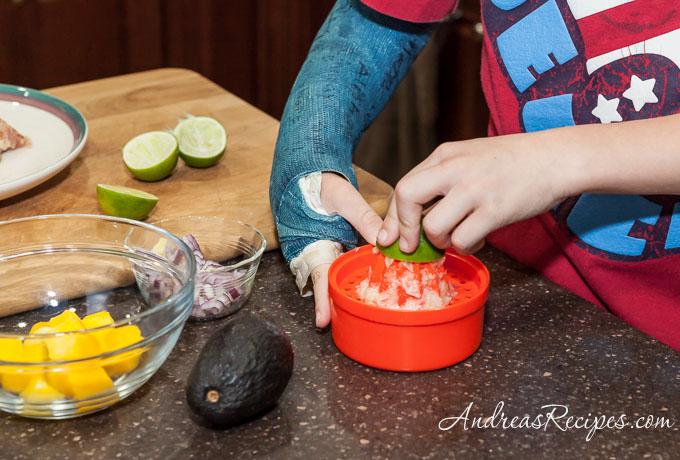 Andrea Meyers - Making mango avocado salsa.