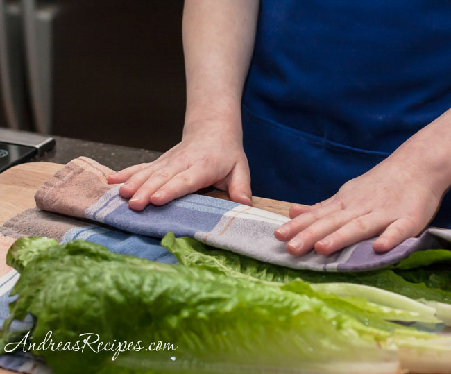 Andrea Meyers - Chinese Chicken Lettuce Wraps, wash and dry the lettuce