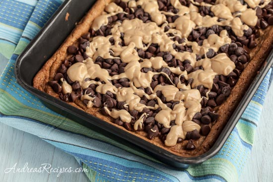 Whole Wheat Oatmeal Peanut Butter Bars with Chocolate Chips - Andrea Meyers