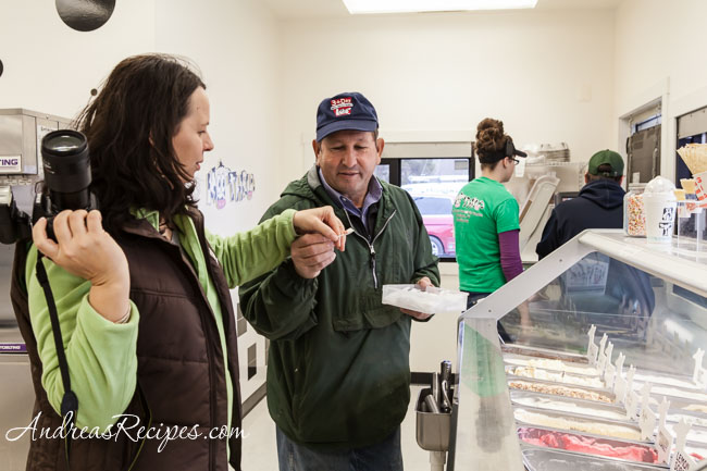 Lisa and Ken sampling ice cream at Moo Thru - Andrea Meyers