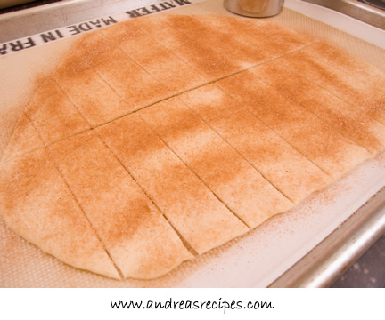 Andrea's Recipes - dough for lavash, sprinkled with cinnamon and sugar