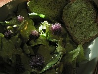 Living in the Kitchen with Puppies - Mixed Greens with Creamy Chive Dressing & Toasts with Whipped Herb Butter
