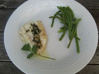 Wynter's Musings - Grilled Hallibut with Cilantro Garlic Butter