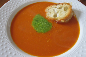 Grow Cook Eat - Tomato Soup with Scape Pesto