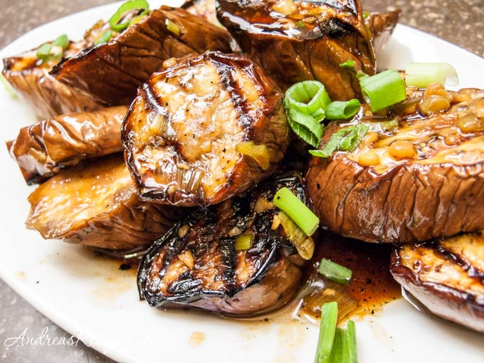 Andrea Meyers - Grilled Chinese Eggplant with Garlic and Ginger Sauce