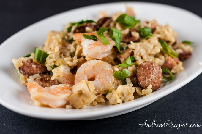Jambalays with Shrimp, Chicken, Andouille, and Ham - Andrea Meyers