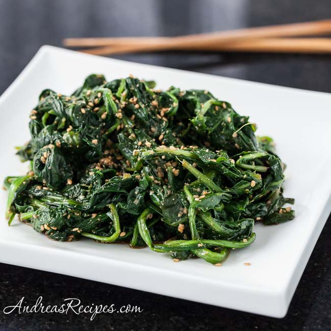 Japanese Sesame Spinach Salad with Dandelion Greens (Goma-ae) - Andrea Meyers