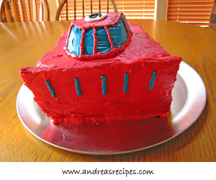 Lightening McQueen cake, blue stripes