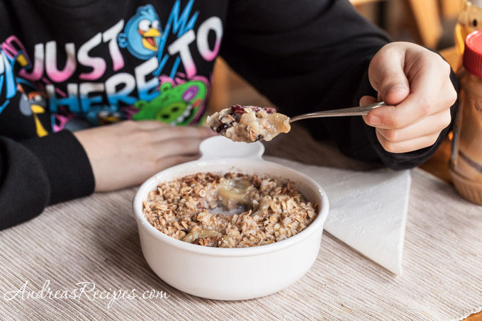 Breakfast Oatmeal with Peanut Butter, Bananas, and Honey - Andrea Meyers