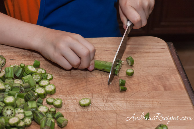 Andrea Meyers - Slicing okra