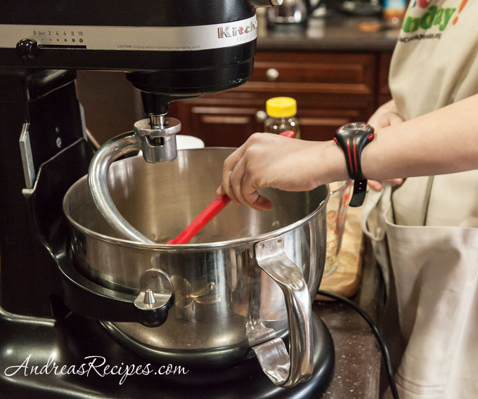 Andrea Meyers - Knead the dough and scrape down the bowl.