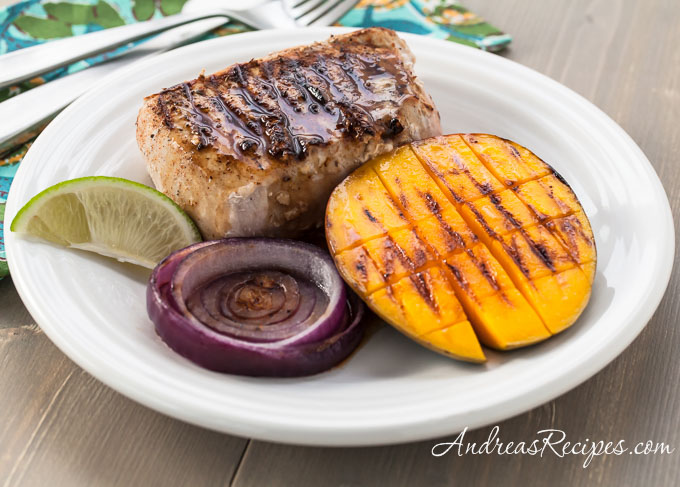 Grilled Jerk Pork Chops with Mango and Rum Sauce - Andrea Meyers