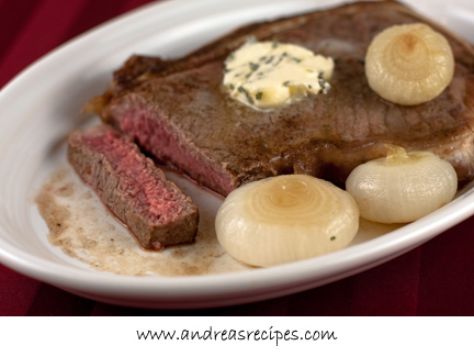 Andrea's Recipes - Steak with Champagne Braised Cippolini Onions and Sage Butter