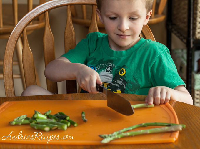 Chopping asparagus, The Kids Cook Monday - Andrea Meyers