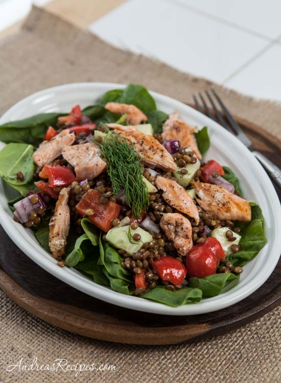 Salmon and Lentil Salad with Spinach and Lemon Dill Vinaigrette - Andrea Meyers