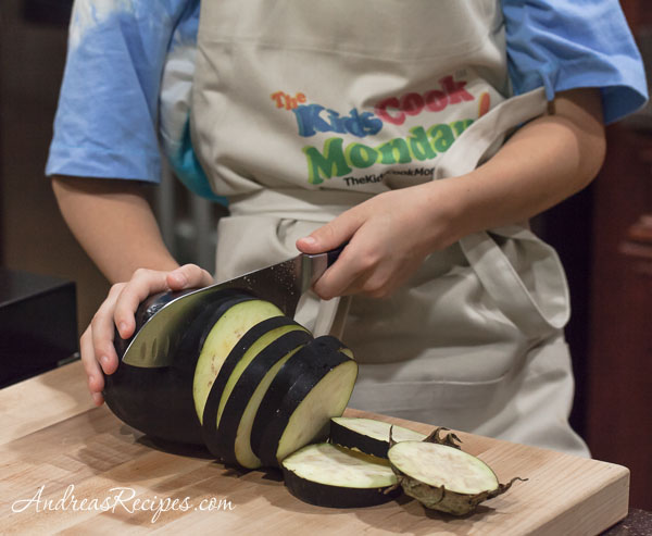 Slicing eggplant for The Kids Cook Monday - Andrea Meyers