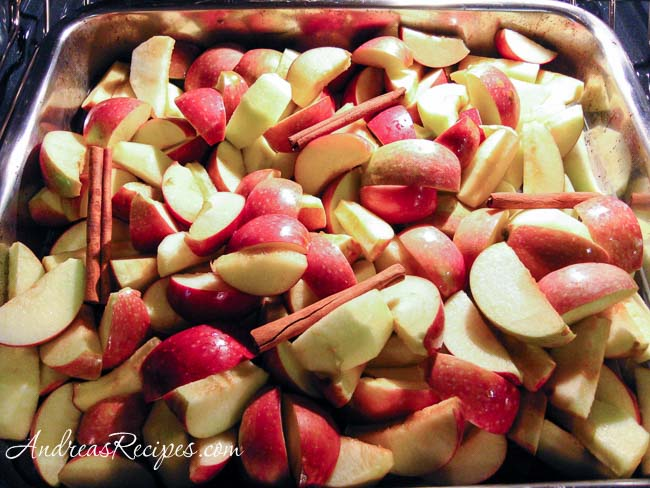 Apples going into the oven for roasting - Andrea Meyers