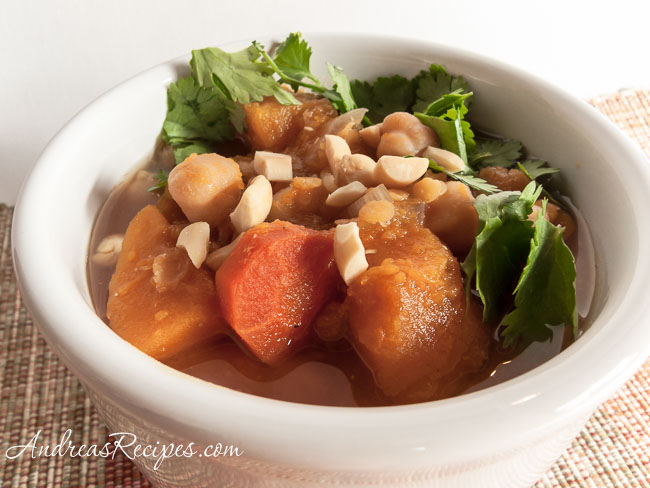 Slow Cooker Squash Stew with Garbanzo Beans and Red Lentils - Andrea Meyers