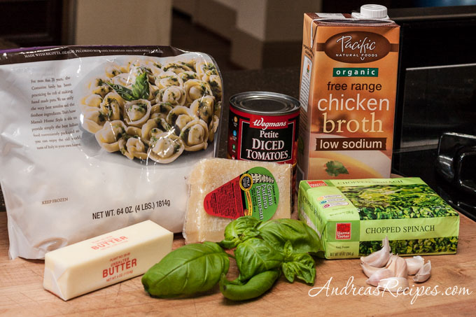 Andrea Meyers - Spinach and Tortellini Soup, ingredients