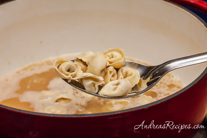 Andrea Meyers - Spinach and Tortellini Soup, adding the tortellini.