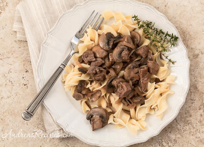 Andrea Meyers - Steak Tips with Peppered Mushroom Gravy
