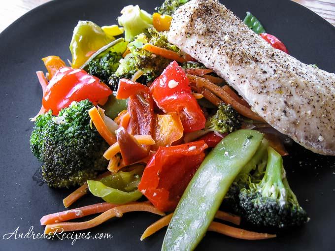 Steamed Mahi Mahi with Stir-Fried Vegetables - Andrea Meyers