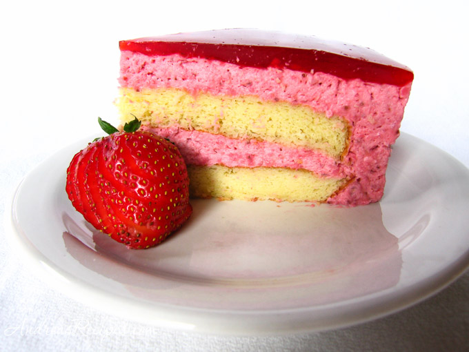 Slice of Strawberry Mirror Cake - Andrea Meyers