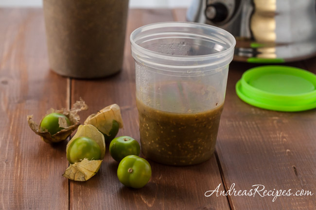 Tomatillo Puree, from roasted tomatillos - Andrea Meyers