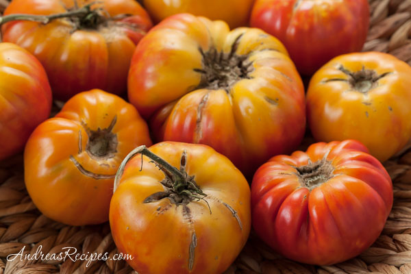 Homegrown Mr. Stripey Heirloom Tomatoes - Andrea Meyers