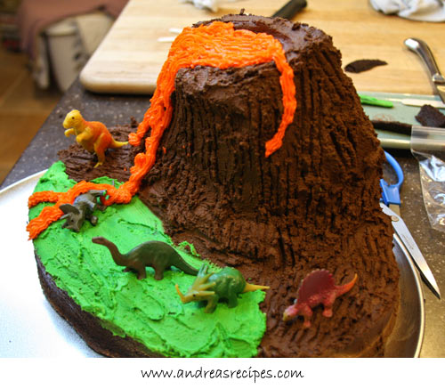 Andrea's Recipes - Volcano Birthday Cake, orange frosting