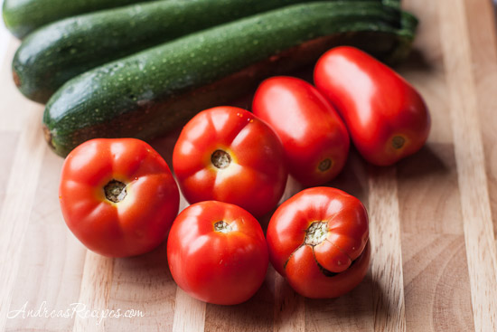 Andrea's Recipes - tomatoes and zucchini for Zucchini and Tomato Gratin