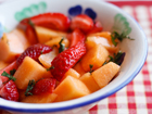 Andrea's Recipes - Cantaloupe Strawberry Salad with Lime Syrup and Mint