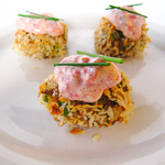 Andrea's Recipes - Panko-Crusted Crab Cake Bites with Roasted Red Pepper Aioli