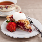 Andrea's Recipes - Strawberry Pie with Crumb Topping and Almond Whipped Cream
