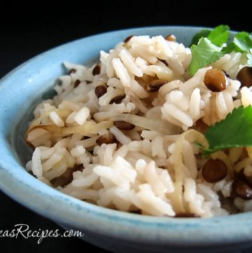 Mujaddarah (Middle Eastern Rice with Lentils) - Andrea Meyers