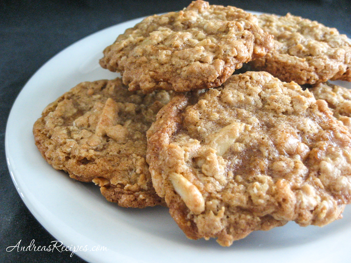 Chewy Oatmeal Cookies with Almonds and Toffee Chips - Andrea Meyers