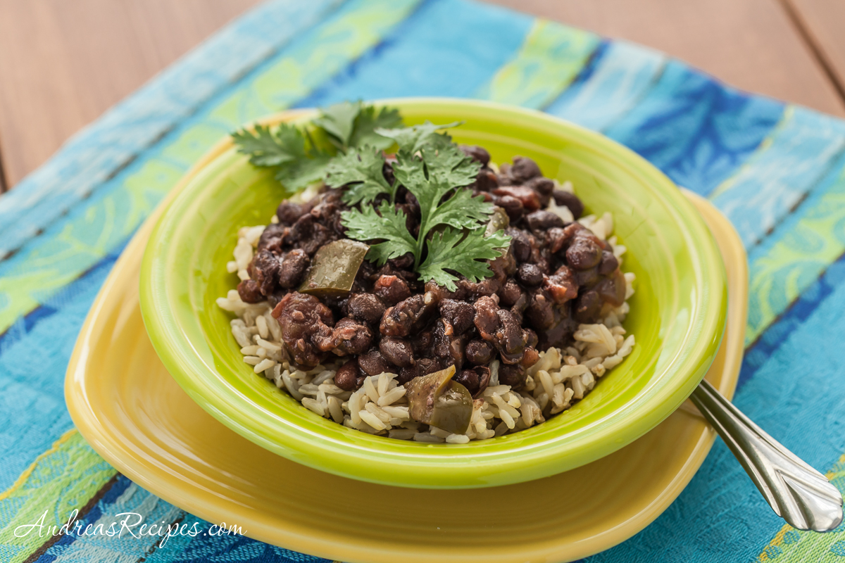 Slow Cooker Cuban-Style Black Beans with Rice - Andrea Meyers