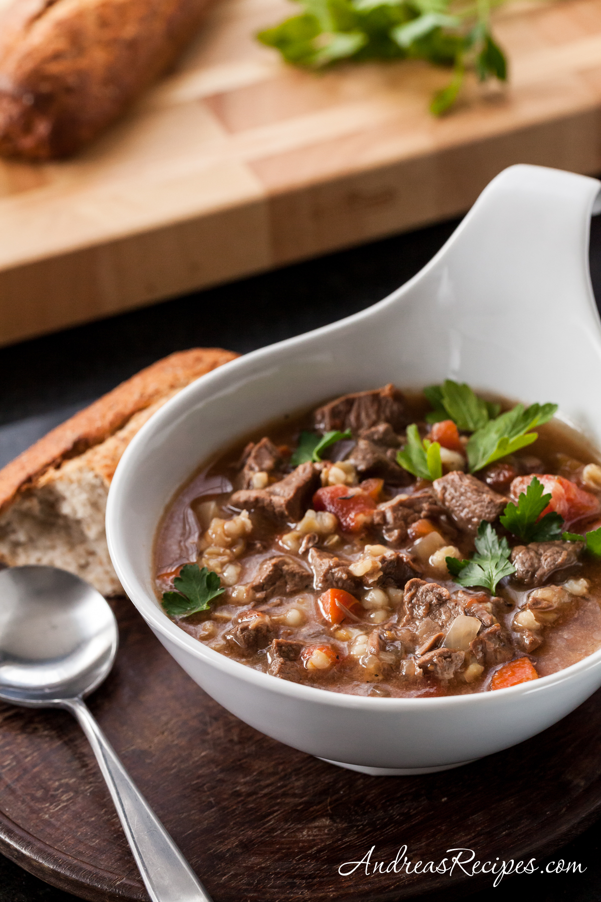 Slow Cooker Beef Barley Soup - Andrea Meyers