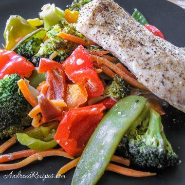 Steamed Mahi-Mahi with Stir-Fried Vegetables - Andrea Meyers