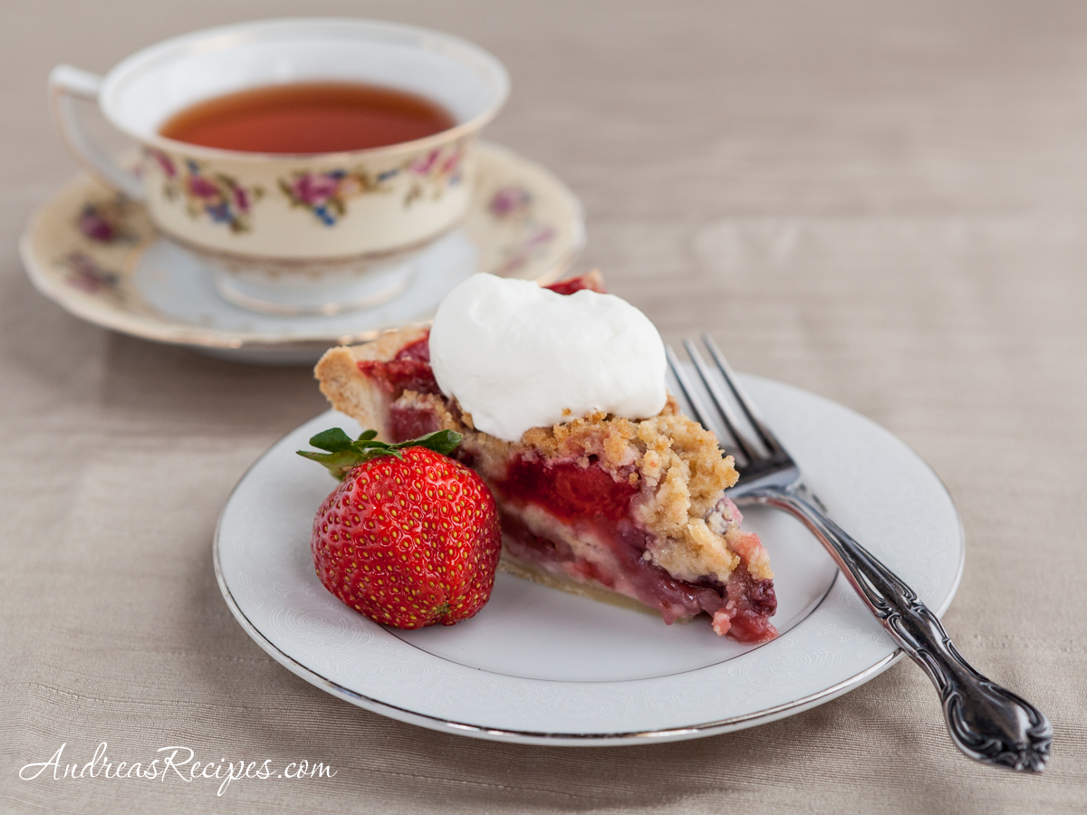 Strawberry Pie with Crumb Topping and Almond Whipped Cream - Andrea Meyers